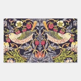 William Morris Strawberry Thief Floral Art Nouveau Rectangular Sticker