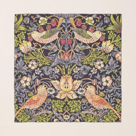 William Morris Strawberry Thief Floral Art Nouveau Scarf