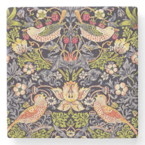 William Morris Strawberry Thief Floral Art Nouveau Stone Coaster