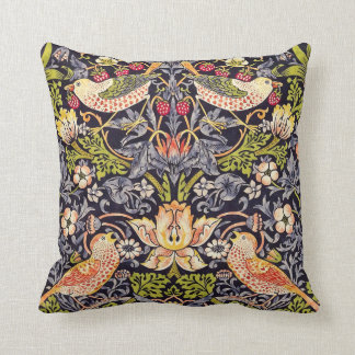 William Morris Strawberry Thief Floral Art Nouveau Throw Pillow
