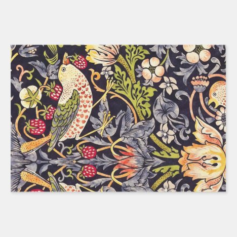 William Morris Strawberry Thief Floral Art Nouveau Wrapping Paper Sheets