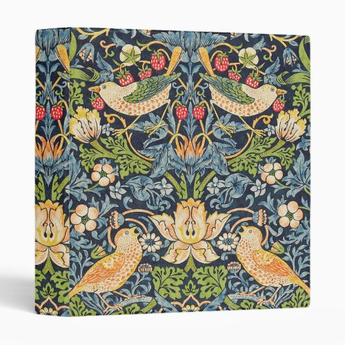 William Morris Strawberry Thief Floral Pattern 3 Ring Binder