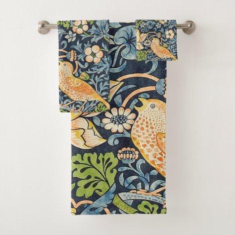 William Morris Strawberry Thief Floral Pattern Bath Towel Set