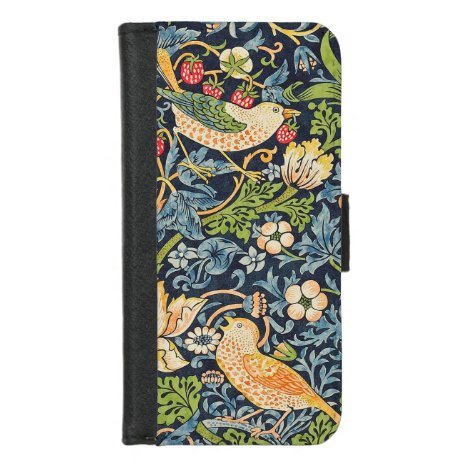 William Morris Strawberry Thief Floral Pattern iPhone 8/7 Wallet Case