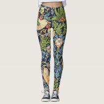 William Morris Strawberry Thief Floral Pattern Leggings