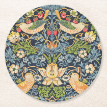 William Morris Strawberry Thief Floral Pattern Round Paper Coaster
