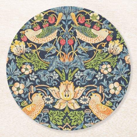 William Morris Strawberry Thief Floral Pattern Round Paper Coaster