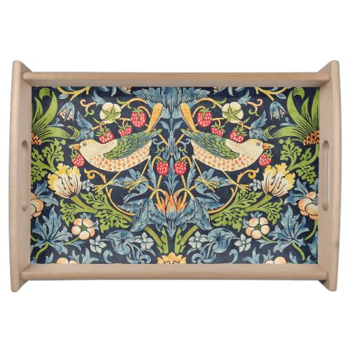 William Morris Strawberry Thief Floral Pattern Serving Tray