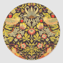 William Morris Strawberry Thief Pattern Classic Round Sticker