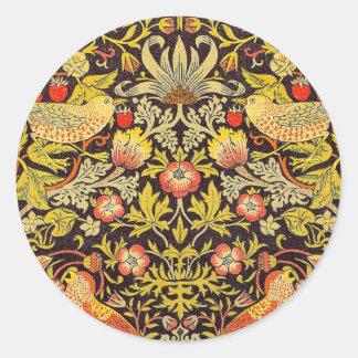 William Morris Strawberry Thief Pattern Classic Round Sticker
