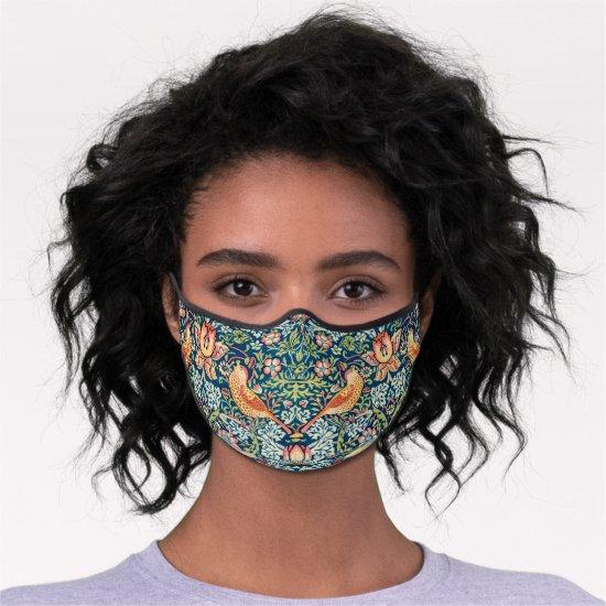 William Morris Strawberry Thief Pattern Premium Face Mask