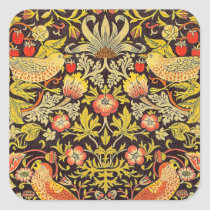 William Morris Strawberry Thief Pattern Square Sticker