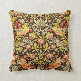 William Morris Strawberry Thief Pattern Throw Pillow at Zazzle