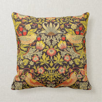 William Morris Strawberry Thief Pattern Throw Pillow