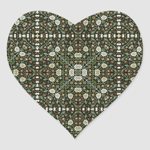 William Morris Style Wallpapered Forestry Pattern Heart Sticker