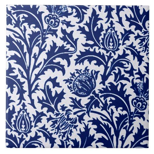 William Morris Thistle Damask Cobalt Blue White Ceramic Tile