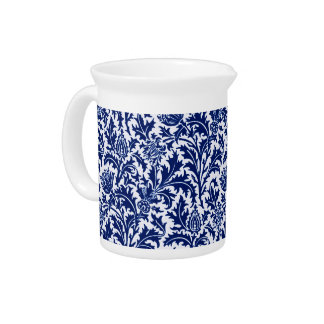 William Morris Thistle Damask, Cobalt Blue & White Drink Pitcher