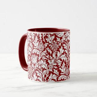 William Morris Thistle Damask, Dark Red & White Mug