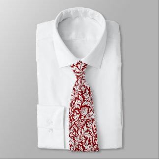 William Morris Thistle Damask, Dark Red & White Tie