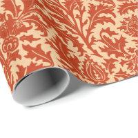 William Morris Thistle Damask, Mandarin Orange Wrapping Paper