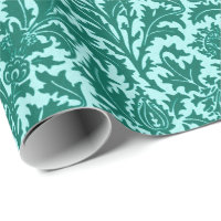 William Morris Thistle Damask, Turquoise and Aqua Wrapping Paper