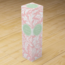 William Morris Thistle Pink Green Damask Birthday Wine Gift Box