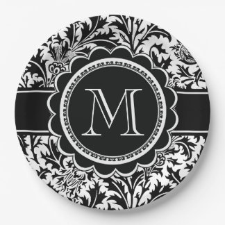 William Morris Thistles Monogram Black and White Paper Plate