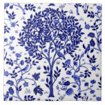 "William Morris Tree of Life, Cobalt Blue and White Ceramic Tile<br><div class=""desc"">Ceramic tile in a William Morris Art Nouveau take on a traditional ""tree of life"" pattern,  featuring fantasy trees surrounded by branches filled with exotic flowers and birds,  shades of rich cobalt blue and deep navy on a white background</div>"