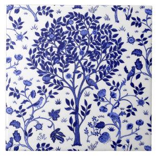 William Morris Tree Of Life Cobalt Blue And White Ceramic Tile