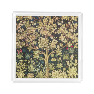 William Morris Tree Of Life Floral Vintage Art Acrylic Tray