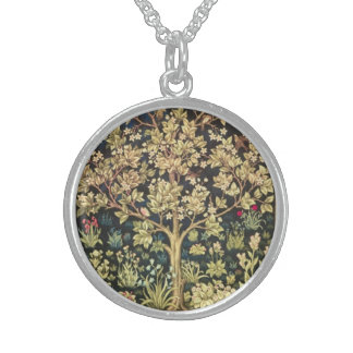 William Morris Tree Of Life Floral Vintage Art Sterling Silver Necklace