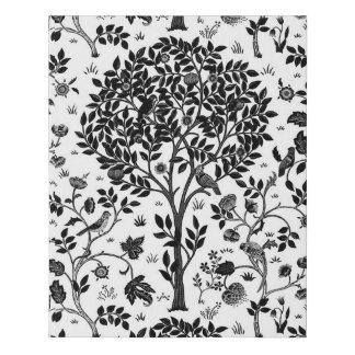 William Morris Tree of Life Pattern, Black & White Faux Canvas Print