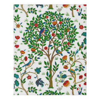 William Morris Tree of Life Pattern, Green & Multi Faux Canvas Print