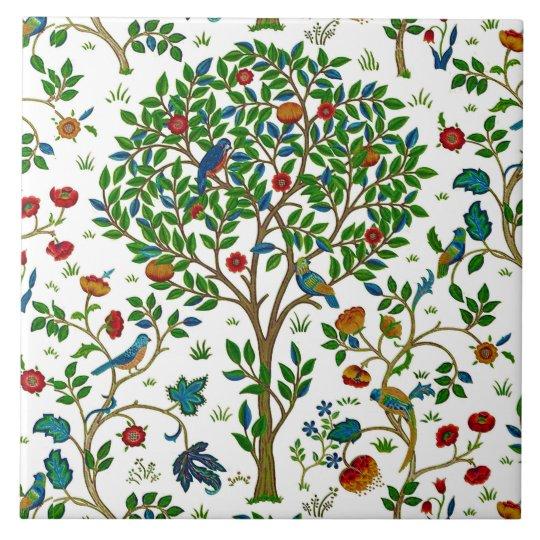 William Morris Tree Of Life Pattern Green Multi Tile Zazzle Inspiration Tree Of Life Pattern