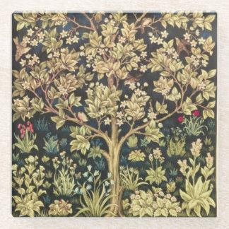 William Morris Tree Of Life Vintage Pre-Raphaelite Glass Coaster