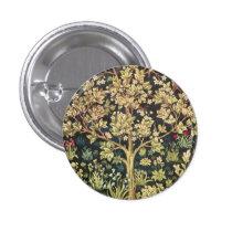 William Morris Tree Of Life Vintage Pre-Raphaelite Pinback Button