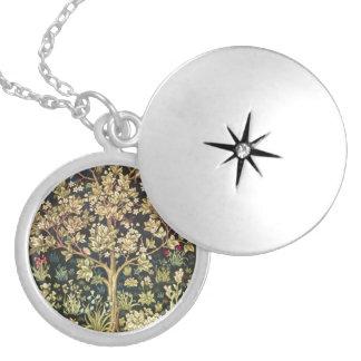 William Morris Tree Of Life Vintage Pre-Raphaelite Round Locket Necklace