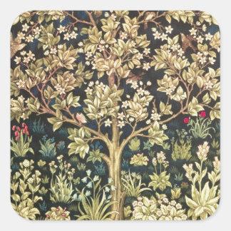William Morris Tree Of Life Vintage Pre-Raphaelite Square Sticker