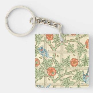 William Morris Trellis Pattern Square Acrylic Keychain