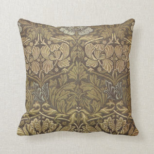 William Morris Tulip and Rose Pattern Throw Pillow at Zazzle