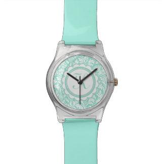 William Morris Turquoise Aqua Thistle Pattern Wrist Watches