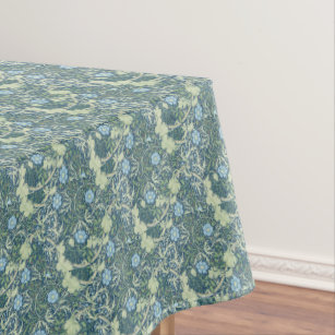 Exceptionnel William Morris Vintage Floral Blue Green Seaweed Tablecloth