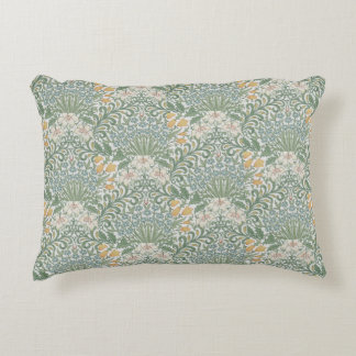 William Morris Vintage Floral Yellow Blue Garden Accent Pillow