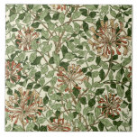 """William Morris Vintage Honeysuckle Pattern Tile<br><div class=""""desc"""">This is a digitally enhanced print derived from an antique 1883 block printed Honeysuckle floral pattern designed by William Morris. William Morris was a Victorian era poet, novelist, textile designer and an important figure of the British Arts and Crafts Movement. His designs had a medieval-inspired aesthetic and respect for hand-craftsmanship...</div>"""