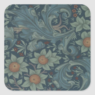 William Morris Vintage Orchard Floral Design Square Sticker