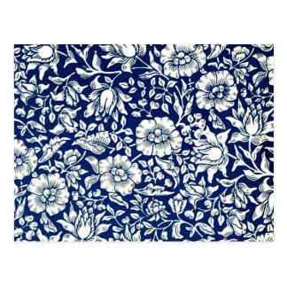 William Morris vintage pattern, Blue Mallow Postcard