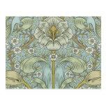 William Morris Vintage Spring thicket Floral Desig Postcard