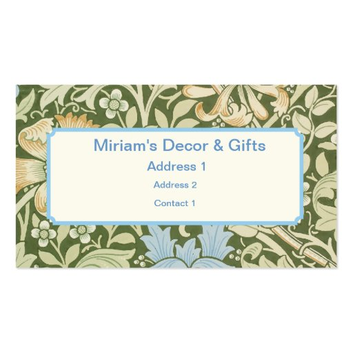 William Morris Wallpaper Designs Double-Sided Standard Business Cards (Pack Of 100)