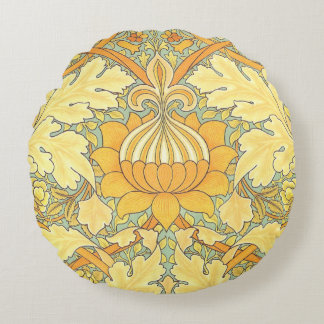 William Morris Wallpaper for St. James Place Round Pillow