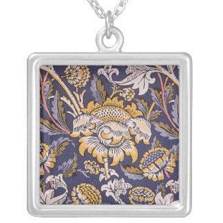 William Morris Wey Floral Wallpaper Design Square Pendant Necklace